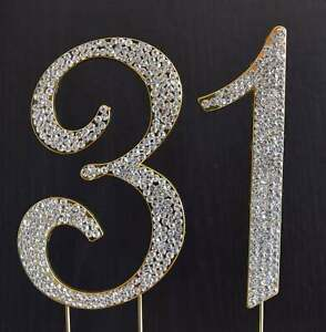 Gold  Rhinestone  NUMBER (31) Cake Topper 31th Birthday Party Anniversary
