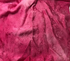 "Hand Dyed FUCHSIA Silk JACQUARD Fabric FLORAL 9""x22"" remnant"