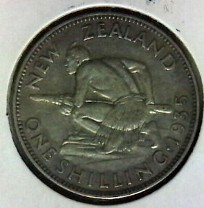 1935 New Zealand Shilling Very nice coin includes free shipping in the US