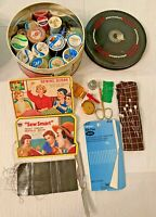 Vintage Wooden Thread Spools and Vintage Sewing Needle Books & etc
