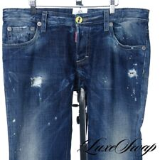 DSquared Made in Italy Distressed Blasted Bleached Raw Denim Painted Jeans 52 #2
