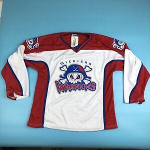 Michigan Warriors Hockey Jersey White Red OT Sports Adult Small NWT