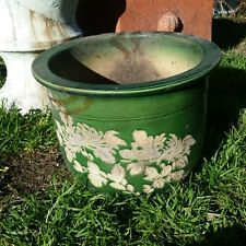 Green Glazed Ceramic Plant Pot with matt floral motif