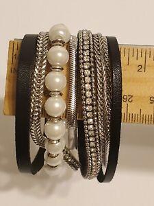 Wide Chunky Silver Tone & Black Leather 7 Strand Bracelet Faux Pearl Rhinestones