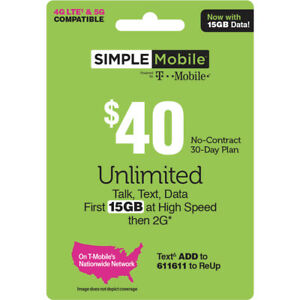 1 MONTH SIMPLE MOBILE $40 PLAN - 30 Days Preloaded with $40 Plan ($40 Value)