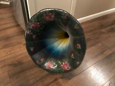ANTIQUE 1900's MORNING GLORY EDISON PHONOGRAPH HORN HAND PAINTED FLOWERS