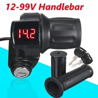 12V-99V LED EBike Electric Scooter Throttle Grip Handlebar Digital Meter +Key US