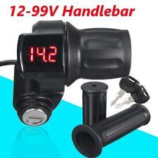 12V-99V Led Ebike Electric Scooter Throttle Grip Handlebar Digital Meter +Key Us
