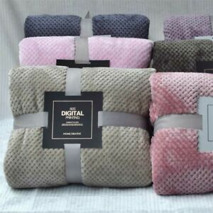 1Pc Microfiber Blankets Thick Fleece Sofa Blanket Flannel Bedspread Home Textile