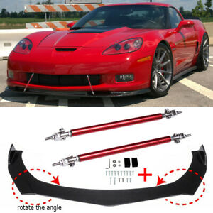 For Chevrolet Corvette Z06 C6 Carbon Fiber Front Bumper Lip Spoiler + Strut Rods