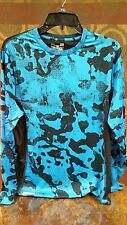 Euc Under Armour Mens Large Long Sleeve Fitted/Mesh Camo/Abstract Blues Black