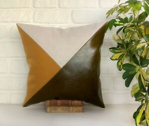 Olive green-mustard-beige color diagonal faux leather  pillow cover