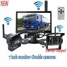 "DUAL Wireless Rear View Backup Camera Night Vision +7"" Monitor For RV Truck Bus"