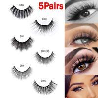5Pairs 100% Mink Hair Natural Long Eye Lashes False 3D Eyelashes Handmade Makeup