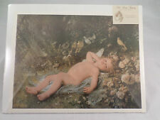 """Victorian Lithograph Print Picture """"Resting Cupid"""" Angel Baby 12X16"""
