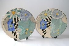 More details for original pair of gray's pottery art deco hand painted jazz dinner plates, gilt.