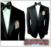 "M&S Tailoring Mens Black Tuxedo  Dinner suit Ch44""R W38"" L31"" Washable"