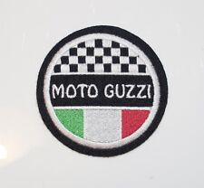 CLASSIC  MOTO GUZZI/ITALIAN FLAG  MOTORCYCLE EMBROIDERED PATCH-ISLE OF MAN