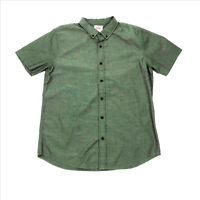 EUC Levis Olive Green Young Mens Short Sleeve Shirt Large