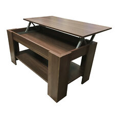 Dark Walnut Minimalistic Lift Top Coffee Table With Shelf Storage Home Furniture
