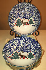 """Cabin in the Snow FOUR 4 Soup Salad Bowls 6.5"""" Tienshan Folkcraft Discontinued"""
