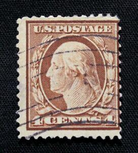 US Stamp Scott #334 ~ Washington, orange brown 4c 1908 Used GR04