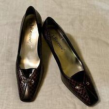 Sz 9 M Daze J Renee Dark Burgundy Snake Print Pumps Shoes ??