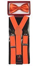 Orange Suspenders & Bow Tie Matching Set Baby Toddler Kids Wedding