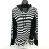 MPG Fitted Cotton Athletic Hoodie Womens S Small Black White Striped Thumb Holes