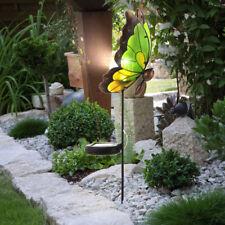 LED SOLAR Steck Leuchte Garten Deko Lampe Glas Schmetterling Außen Beleuchtung