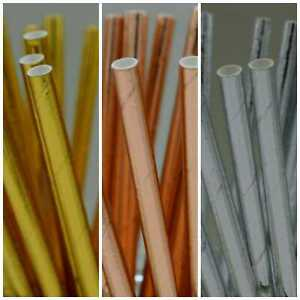 Gold/Silver/Rose Paper Straws Eco Friendly Biodegradable Wedding Party 25/50/100