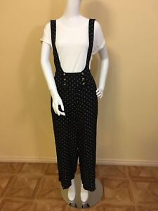 Women Ladies Wide Leg Polka Dot Pants with Suspenders