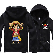 Anime One Piece Monkey D Luffy Cotton Sweatshirt Ribbed Hoodie Zip-Up Tops Coat