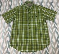 G.H Bass & Co Men's Button Down Shirt Short Sleeve Hard Service Shirt Size M