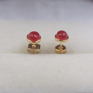 Lovely Red Jade Round Shape Yellow GP Stud Earrings