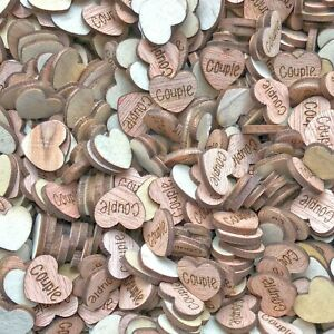 Couple Wooden Shabby Chic Craft Scrapbook Vintage Confetti Hearts 15mm