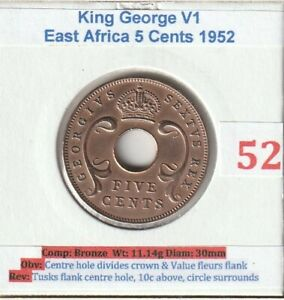 1952 East Africa King George V1 5 Cents Coin (VF condition)