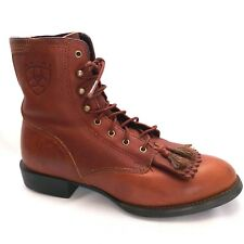 Ariat Cobalt Lacer Equestrian Tan Leather Ankle Lace Ups Tassels Size 6 B Boots