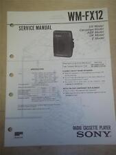 Sony Service Manual~WM-FX12 Walkman Radio Cassette Player~Original~Repair