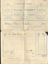 70 VESOUL FACTURE VICTOR TISSOT VINS ENTREPOTS 1930