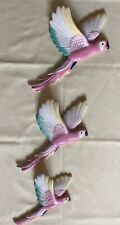 """More details for set of three retro ceramic flying parrots. 7"""", 9.5"""", 11"""""""