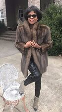 Designer Barguzin e Silver Tip Russian sable Fur Coat jacket bolero S-6 $40,000+