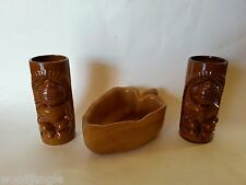 2 Vintage CERAMIC TIKI GOD MUG CUPS WOODS OF HAWAII MONKEYPOD LEAF NUT BOWL LUAU