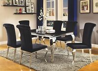 MODERN GLAM CARRARA CHROME METAL GLASS TOP BLACK TINT VELVET DINING TABLE SET
