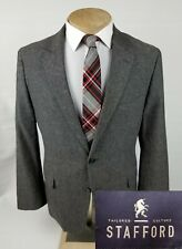 Stafford Mens Sport Coat 44R Gray Linen Blend Blazer 2 Button Jacket