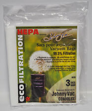 Johnny Vac Condolux Eco Filtration Central Vacuum HEPA Bags 3 Pack 441H
