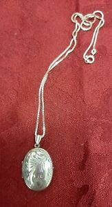Sterling Silver Vintage Etched Locket And Chain