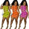 Women Crew Neck Sleeveless Hollow Out Snakeskin Printed Bodycon Club Mini Dress