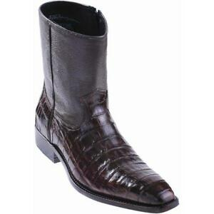Los Altos Brown Genuine CROCODILE Ankle Boot SEMI SQUARE Toe Side Zipper D