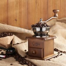 Manual Driven Coffee Bean Spice Herb Vintage Retro Hand Grinder Wooden Burr Mill